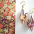 Origami crane earrings and Japanese Yuzen paper sample