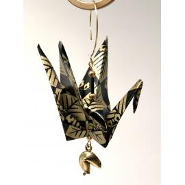 Gold on Black Origami Crane Ornament