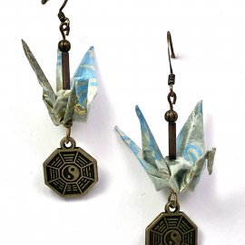 Gold on Blue Origami Earrings with Against Evil Charm
