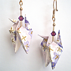 Amethyst Origami Crane Earrings