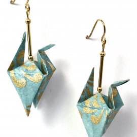 Gold on Turquoise Origami Inspired Earrings