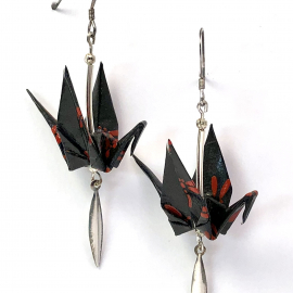 Red Dragonflies on Black Origami Earrings with Sterling Silver Paddle Dangles