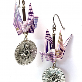 Origami Earrings with Nsoromma Symbol of Faith dangle