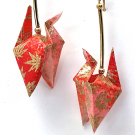 Gold Leaves on Red Origami Earrings