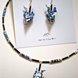 Origami Earrings and Necklace set