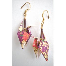 Origami Crane Earrings with wings down