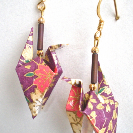 Origami Crane Earrings with wings down
