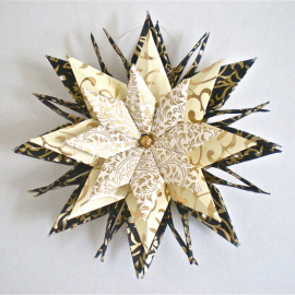 Origami Inspired Gold Vines on Ivory and Black Paper Star