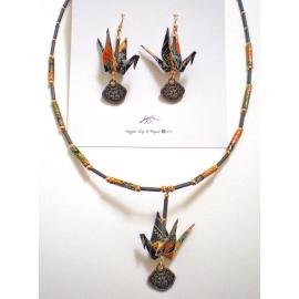 Origami Crane Earring & Necklace set