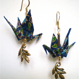 Crane Earrings with Leaves Charm