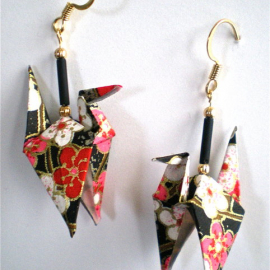 Plum Stars Origami Crane Earrings