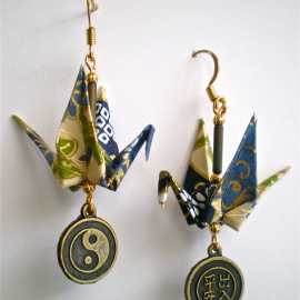 Origami Crane Earrings with Asian Peace & Safety Charm