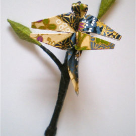 Dragonfly on Long Twig Origami pin