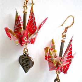 Red Silver Cranes with Double Happiness Charm