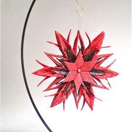Origami Inspired Red and Black Paper Star