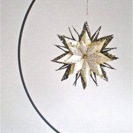Origami Inspired Gold Vines on Ivory and Black Paper Star with Ornament Stand