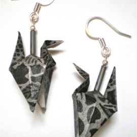 Origami Crane Earrings wings down