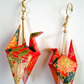 Red Floral Origami Crane Earrings with wings down