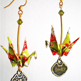 Origami Crane Earrings with Asian Good Luck Charm