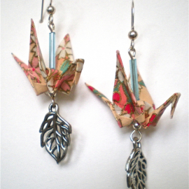 Origami inspired crane earrings with silver open leaf dangle
