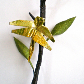 Twig and Dragonfly Origami Pin