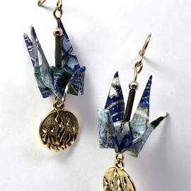 Origami Inspired Earrings with Gold Fire Charm