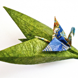 Origami Crane on Leaves PIn