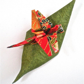 Dragonfly and Leaf Origami Pin