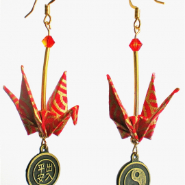 Red Gold Origami Crane Earrings