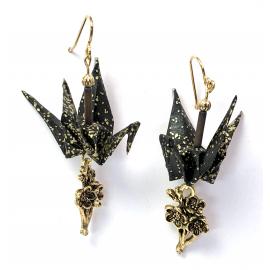 Origami Inspired Earrings with Sakura Charm