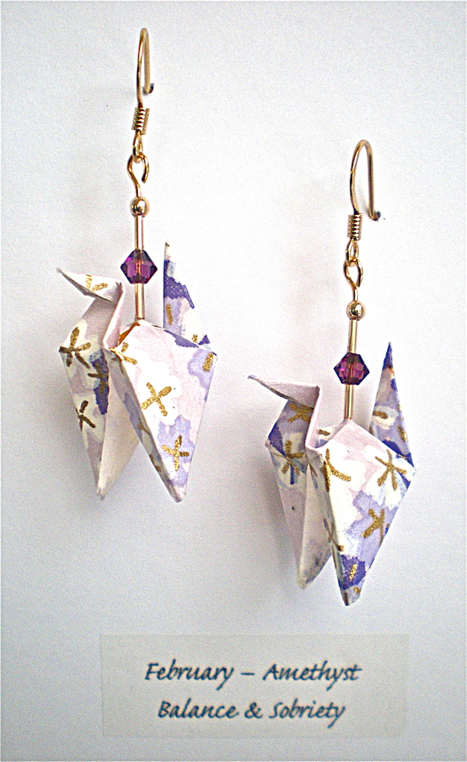 February Origami Crane Earrings With Amethyst Crystals Magyan Clay