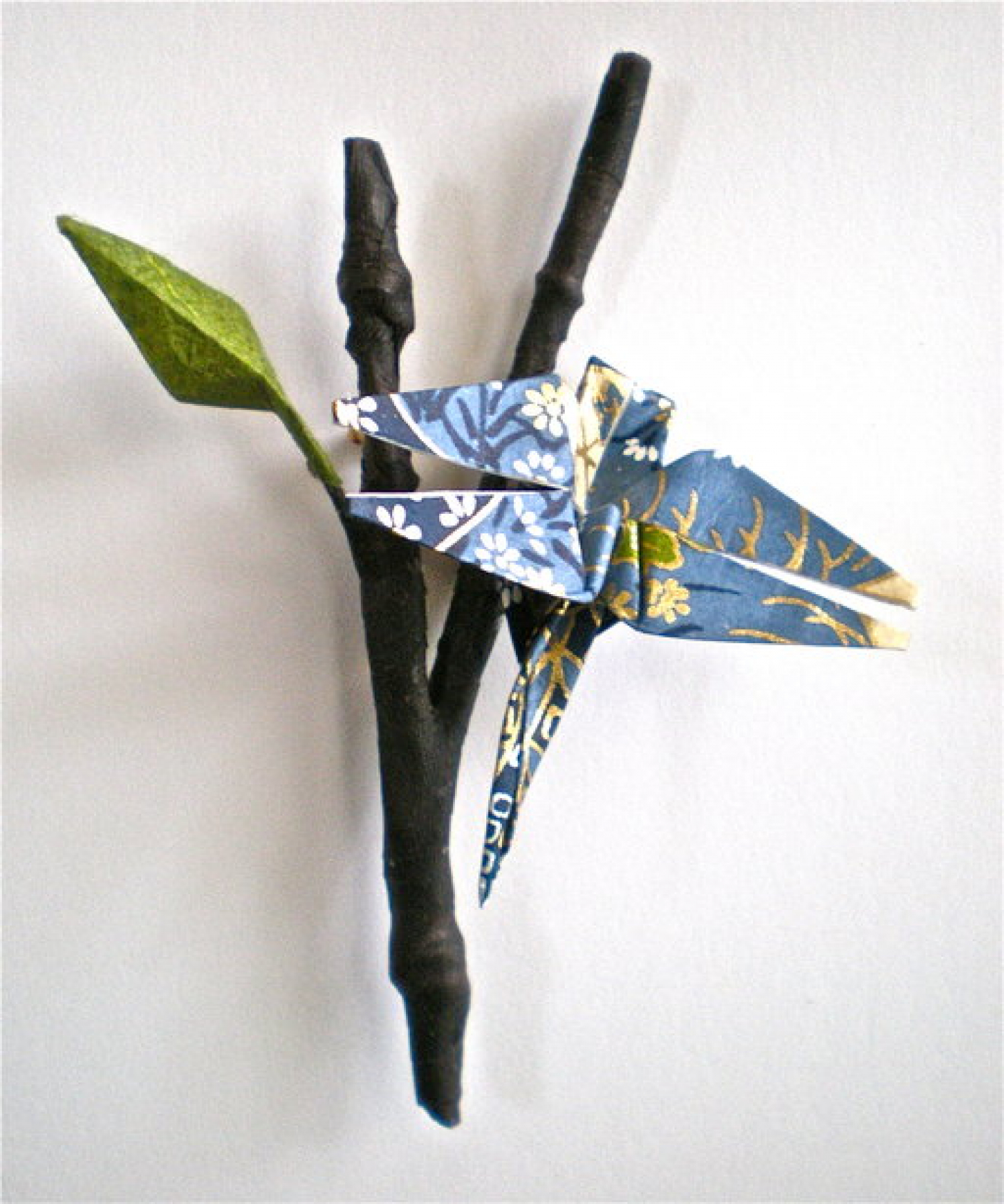 Origami inspired earrings pins and necklaces magyan clay and paper twig and dragonfly with leaf origami pin jeuxipadfo Image collections