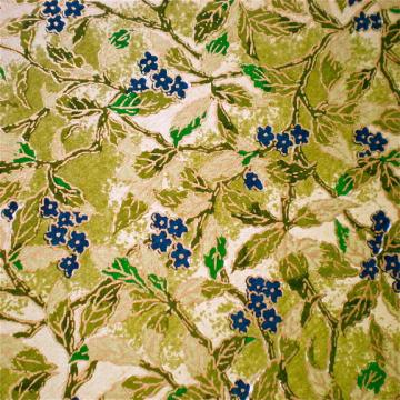 Dark Blue Blossoms on Green Leaves Japanese Yuzen paper
