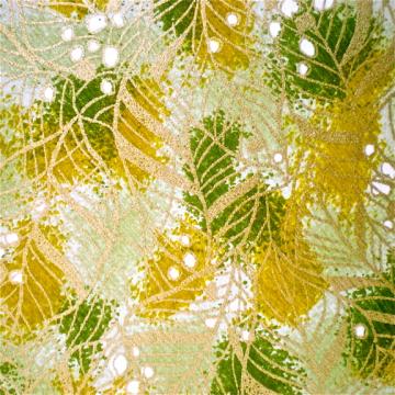 Green Leaves on Ochre Gold Japanese Yuzen paper
