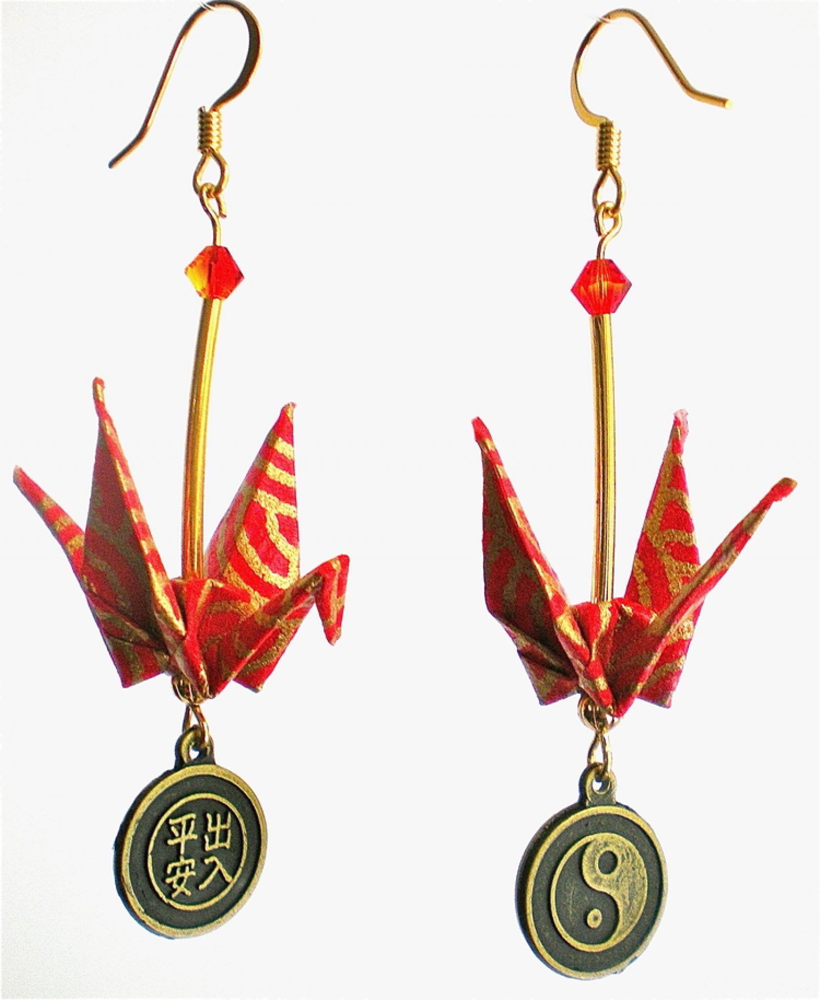 Finest Red Gold Origami Crane Earrings with Peace & Safety Asian Charm  QH32